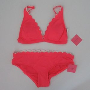Kate Spade 2pc Scalloped Bikini Top Bottoms NEW
